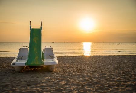 viareggio: Beach at sunrise Stock Photo
