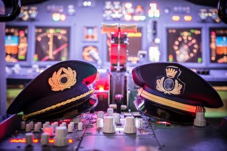 飛行機のコックピットの表示 写真素材