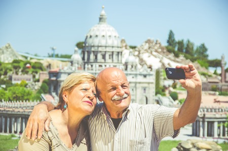 Senior happy couple taking a selfie photo