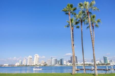 San Diego skyline view from Coronado Island Фото со стока