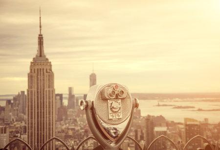 Aerial view of Manhattan from a Binocular