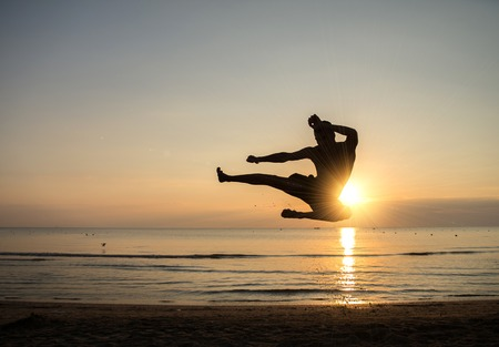 martial art: Martial arts master at sunrise Stock Photo