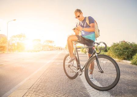 Sportive man at sunset Stock Photo