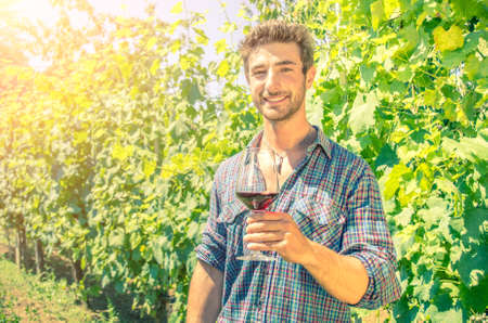 Man holding glass for wine tasting in a vineyard photo
