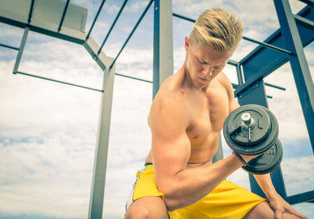 man training hard photo