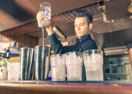 bartender in action Stock Photo