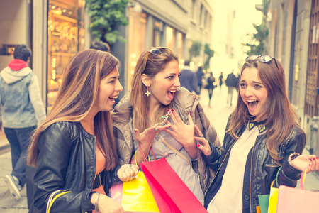 happy girls after shopping photo