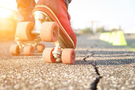 skater boy makes some training