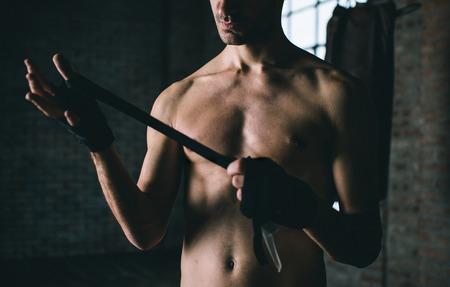 mixed martial arts: preparaci�n figher Foto de archivo
