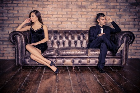 Couple with relationship problems - Two stylish lovers having couple problems 스톡 콘텐츠