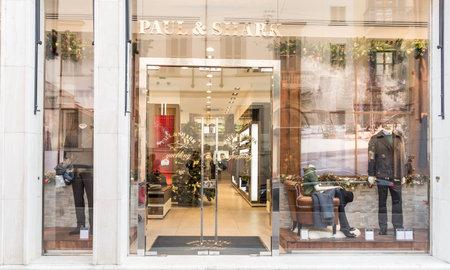 MILAN,ITALY - DECEMBER 30, 2014: Paul & Shark shop window.Paul & Shark is a world famous fashion brand.