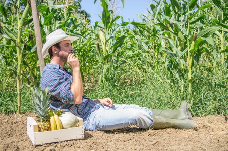 Farmer relaxing on a hoe in a field after collecting fruits and vegetables Stock Photo