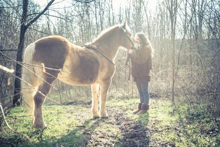 femme et cheval: Belle femme caressant un cheval brun - Jolie caucasien modèle woth étalon extérieur
