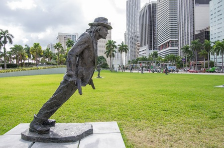 michael: MIAMI,FL - NOVEMBER 29, 2013: Michael Jackson statue in Miami.Michael Jackson was a pop singer and dancer selling milions discs all over the world