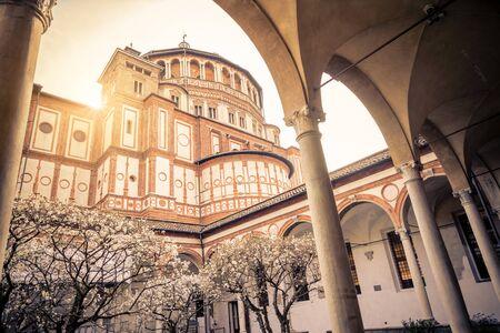 the mary: Church Holy Mary of Grace ( Santa Maria delle Grazie ) , Milan - Italy Stock Photo