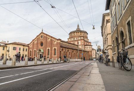 santa cena: MILAN, Italia - MARZO 29,2015: Iglesia Santa Mar�a de la Gracia (Santa Maria delle Grazie), Milan.In esta catedral es colocar la famosa obra maestra de Da Vinci, La �ltima Cena de Jes�s