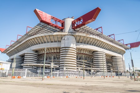 inter: MILAN,ITALY - MARCH 27, 2015: Meazza stadium in Milan.In Meazza stadium,also known as San Siro stadium, play two soccer teams: Milan AC and Inter.