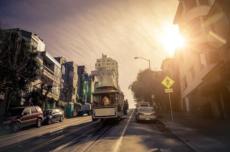 カリフォルニア州 San Francisco のケーブルカー 写真素材