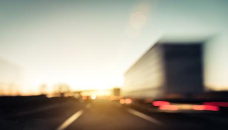 camion: atasco de tr�fico en la carretera Foto de archivo