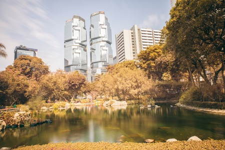 high rises: View of high rises from Hong Kong Park in Hong Kong, China