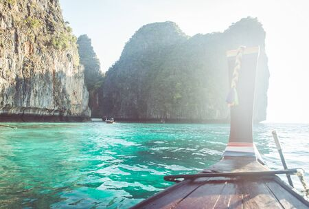 long tail: excursion on the long tail boat. concept about thailand,travel, and vacations