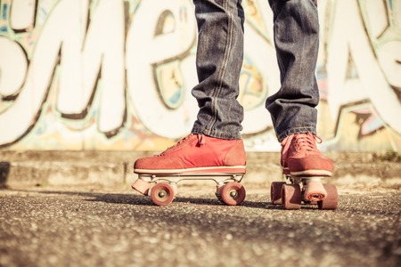 urban dance: skater low part portrait. concept about hipster style, sport, urban lifestyle and people