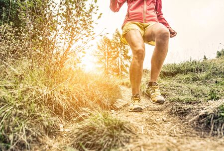 run: woman making workout and running on the hills. concept about sport and fitness