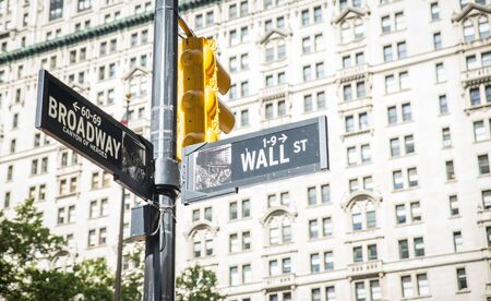 failed strategy: wall street and broadway cross in New York city. street indication boards. wall street is the maining and most important financial area of the city Stock Photo