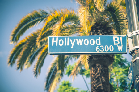 a sign: Hollywood boulevard street sign