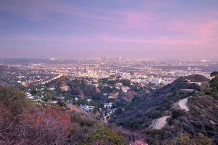 Aerial view of Los angeles city from Runyon Canyon park. concept about traveling, nature and backgrounds