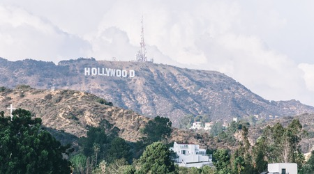 hollywood hills: Los angeles, Hollywood,Ca. 16th october, 2015. The hollywood sign.  It is situated on Mount Lee, in the Hollywood Hills area of the Santa Monica Mountains. The sign overlooks Hollywood, Los Angeles.