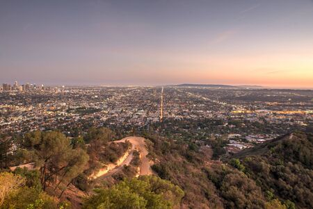 on the hill: Beautiful aerial view in Los angeles. view from the observatory Stock Photo