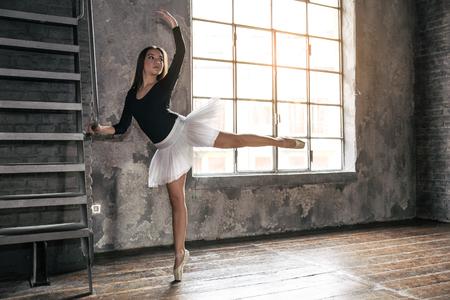 danza clasica: Joven bailarina de ballet - mujer bonita Armonioso posando en el estudio