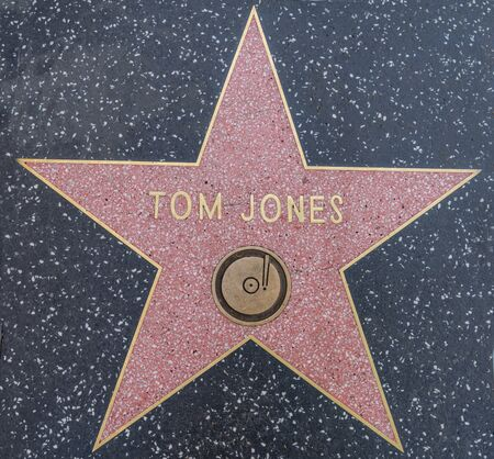 hollywood   california: HOLLYWOOD,CA - OCTOBER 8,2015: Tom Jones star on Hollywood Walk of Fame in Hollywood, California. This star is located on Hollywood Blvd. and is one of 2400 celebrity stars.