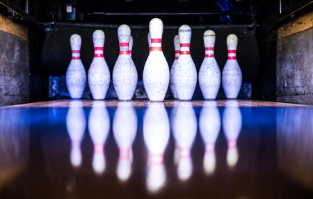 Bowling pinnen Stockfoto