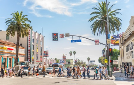 HOLLYWOOD,CA - OCTOBER 11, 2015: Walk of Fame at sunset on Hollywood Boulevard. In 1958, the Hollywood Walk of Fame was created as a tribute to artists working in the entertainment industry. Reklamní fotografie - 49070402