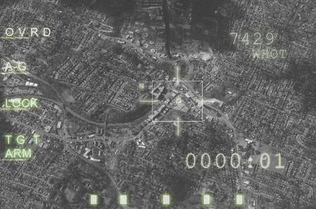 Vliegtuigen wapen computer, doel vergrendeld, klaar om te vuren. Concept over oorlog en terrorisme Stockfoto