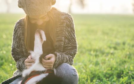 동물: 그녀의 보더 콜리 강아지와 함께 연주 젊은 여자. 동물과 사람 AOUT 개념 스톡 콘텐츠