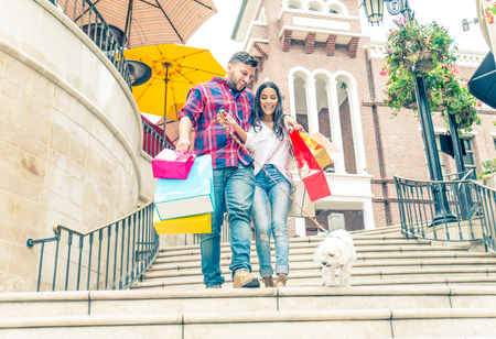 sidewalk sale: Couple having fun and shopping in Beverly Hills