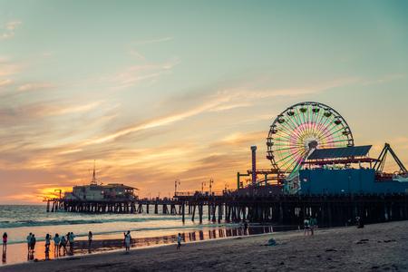 Cais de Santa Monica no por do sol, Los Angeles Banco de Imagens