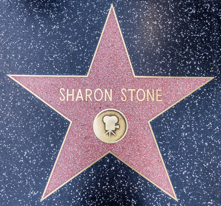 fame: LOS ANGELES, CALIFORNIA - OCTOBER 8, 2015: Sharon Stone star on Walk of Fame, Hollywood.This star is located on Hollywood Blvd. and is one of 2400 celebrity stars.