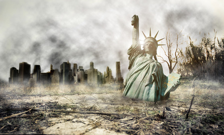 bomb explosion: Apocalyse in New york. Fantasy concept about apocalyptic scenario Stock Photo