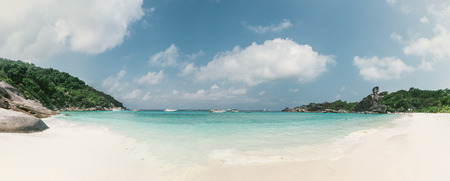 seascape: Panoramic view of Similan island, Thailand. View from the white sand beach. Concept about travel and nature