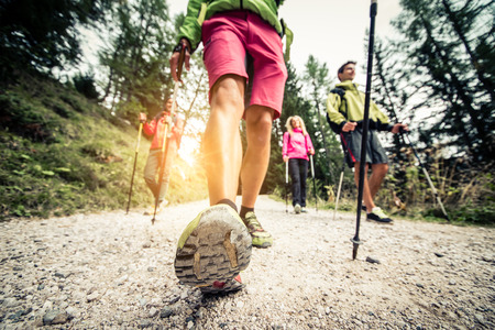 nordic walking: Group of hikers with backpacks and sticks walking on a mountain at sunset - Four friends making an excursion in the nature
