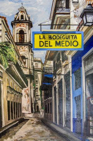 MIAMI, USA - DECEMBER 2, 2013: painting representing La Bodeguita del Medio in Little Havana, Miami.La Bodeguita del Medio is the most famous bar where Hemingway used to drink Mojito