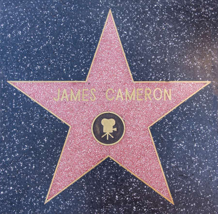 fames: HOLLYWOOD - OCTOBER 8, 2015: James Camerons star at the Walk of Fame. Hes nominated for Best Director at the Academy Awards for his movie Avatar, on February 10, 2010 in Hollywood, California. Editorial