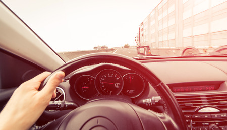 motorway: Sport car driving on the highway Stock Photo