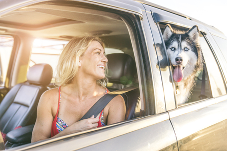 automobile: Beautiful girl and husky sitting in a car and looking at camera - Funny dog with owner in a car Stock Photo