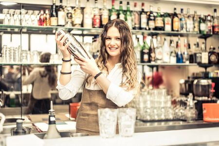bartending: Pretty barmaid shaking cocktails in a bar - Female bartender preparing drinks for guests Stock Photo