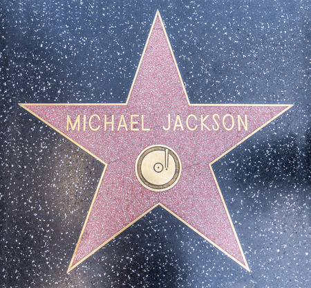 HOLLYWOOD, LOS ANGELES - OCTOBER 8, 2015: Michael Jacksons star on Hollywood Walk of Fame in Hollywood, California. This star is located on Hollywood Blvd. and is one of 2400 celebrity stars. Editorial